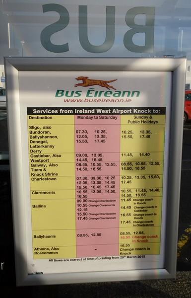 Timetable Ireland West Airport (Knock) 19 November 2015
