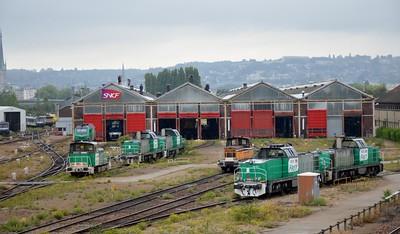 Fret locos at Rouen Depot 12 September 2015