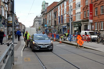 Abbey St 4 May 2016 Works at the Luas stop are possible due to the ongoing strike.
