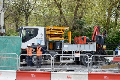 Luas works on St Stephens Green 4 May 2016 Specialist truck from Spain.